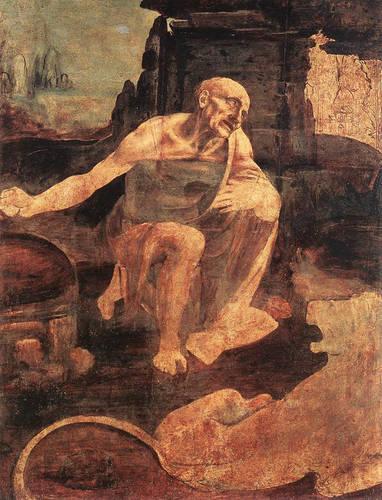 "Leonardo da Vinci, ""S. Girolamo"", 1482 ca. olio su tavola incompiuto (Musei Vaticani)"